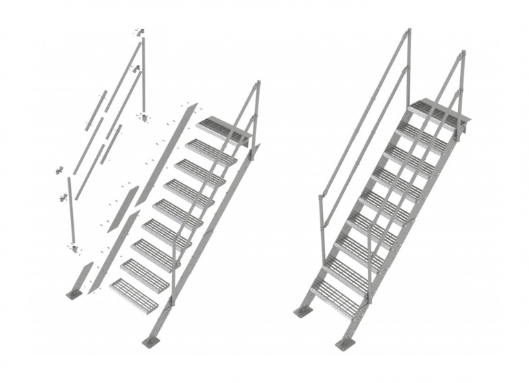 Building site staircase - safety, temporary staircase